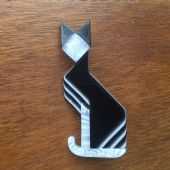 Lea Stein Art Deco Style Cat Brooch - Cubist Cat Brooch (SOLD)